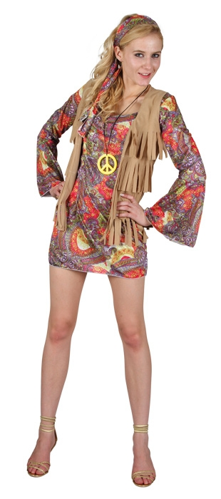 hippie 70er 60er jahre kleid schlagerparty karneval. Black Bedroom Furniture Sets. Home Design Ideas