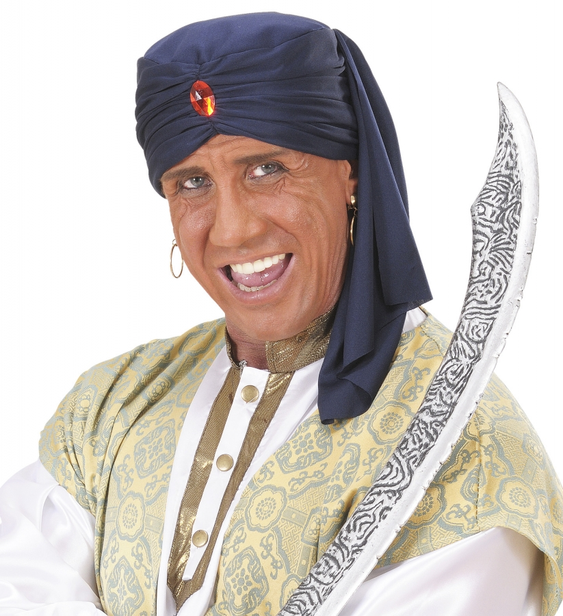 Turban Kalif Orient Araber Sultan Blau Mit Stein