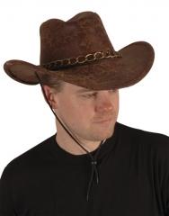Cowboyhut Cowboy Western Lederimitat braun Karneval Fasching