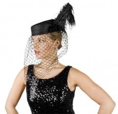 Damenhut schwarz mit Netz u. Feder Lady Karneval Fasching Theater