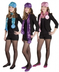 Glitterkappe Pailletten Hippie Disco Partyzubehör Mütze mit Schal