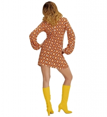 Retrokleid Hippie Damenkleid Woodstock 70er Jahre Flower Power Rhombus