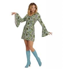Retrokleid Hippie Damenkleid Woodstock 70er Jahre Flower Waves Wellen