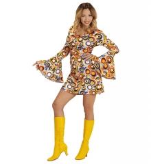 Retrokleid Hippie Damenkleid Woodstock 70er Jahre Flower Power Bubbles