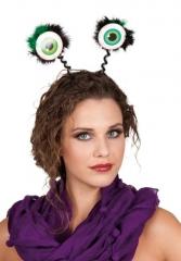 Kopfbügel mit grünen Glubschaugen Zubehör Faschingsparty Kopfschmuck