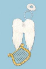 Engelsflügel Harfe und Heiligenschein im Set Christkind Engel