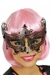 Venezianische Maske schwarz Metall Metallmaske exklusive Augenmaske