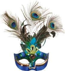 Paradiesvogel Pfau Maske Federmaske Vogelmaske Pfauenfeder Pfauenauge