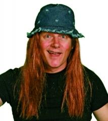 Hippiehut Jeanshut mit Haaren Hippie Vogelscheuche