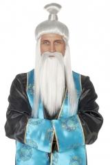 Perücke und Bart  Orientalischer Meister Chinese Sensei Meister