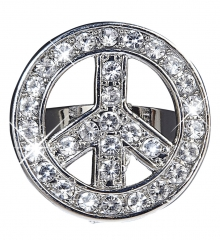 Hippie 60er Jahre 70er Jahre Strass Ring Peace & Love Mottoparty