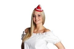Trachtenhut Mini rot mit Haarclip Oktoberfesthut Wiesn