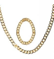 Prollschmuck goldfarbene Kette + Armband Macho Proll Zuhälter Rapper