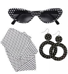 50er 60er Jahre Brille Ohrringe Tuch Rockabilly Rockn Roll Teddyboy