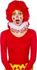 Clown Clownkragen Tüllkragen weiß/rot Robe Mittelalter