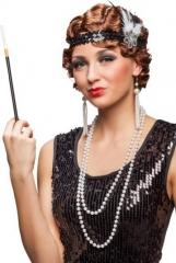 Charleston 20er Set Flapper Stirnband Kette Zigarettenspitze Ohrringe