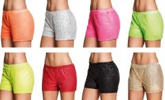 Hotpants Pailletten GoGo Show Tanz Revue kurze Hose viele Farben