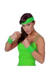 Neon Schweißbänder Stirnband + 2 Armbänder 80er Jahre neongrün