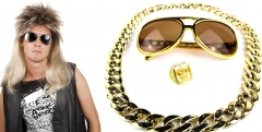 Proll Lude Macho Proleth Hip Hop Rapper Set Perücke + Brille + Ring + Kette