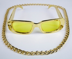 Proll Lude Macho Proleth Hip Hop Rapper Set - Panzerkette und Brille