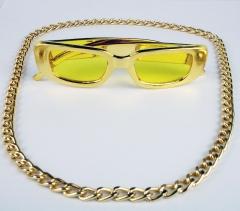 Proll Lude Macho Proleth Hip Hop Rapper Set - Panzerkette und Brille