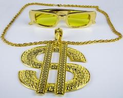 Proll Lude Macho Proleth Hip Hop Rapper Set - Dollar Zeichen Kette und Brille