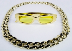 Proll Lude Macho Proleth Hip Hop Rapper Set - Megakette Gold und Brille