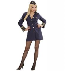 Stewardess Stewardesskleid + Schiffchen Flugbegleiterin Hostess XS-XL