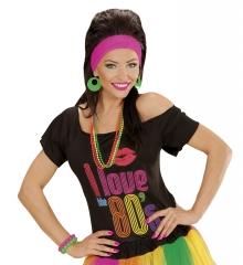 80er Jahre Neon Perlenkette Kette Schmuck 4er Set neonfarben gelb grün pink oran
