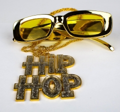 Proll Lude Macho Proleth Hip Hop Rapper Set - HipHop Zeichen Kette und Brille