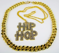 Proll Lude Macho Proleth Hip Hop Rapper Set - HipHop Kette und schwere Goldkette