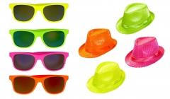 4x Partyhut + 4x Partybrille im Set neon 80er Jahre Partykracher Mallorcaparty