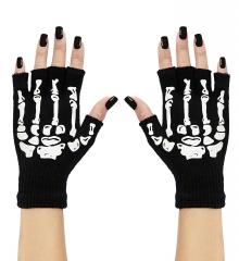 Fingerlose Skeletthandschuhe Knochenhandschuhe Halloweenhandschuhe