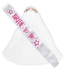 Braut Set - Schärpe und Diadem mit Brautschleier Junggesellinnenabschied JGA