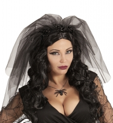 Schwarze Witwe Braut Gothic Schleier Beerdigung Tod Horror Halloween