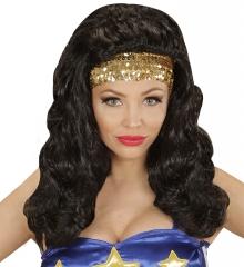 Spanierin Tänzerin Zigeunerin Bauchtanz Super Girl schwarze Langhaar-Perücke + Haarband