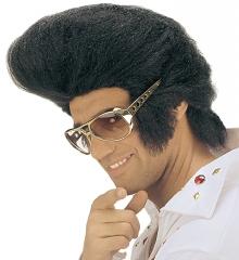 Perücke mit Tolle + Rockn Roll Brille King Popstar 60er 70er Jahre