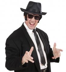 3 teiliges Set im Gangster-Look schwarzer Hut mit Brille und schwarzer Krawatte