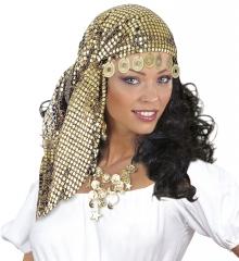Zigeunerin Gipsy Wahrsagerin Bauchtänzerin Kopftuch Münzen+Halskette