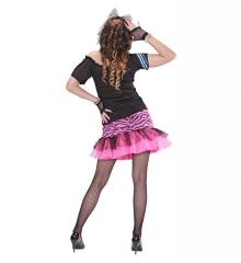 80er Jahre Kleidung Partygirl Set + Netzstrumpfhose + Neonperlenkette