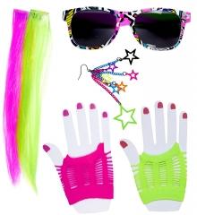 80er Jahre Party Set 6 teilig Neon-Farben Punk Rave Mottoparty