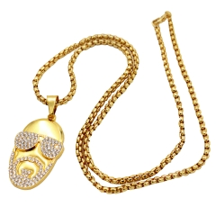 Babo Lude Macho Prolethen HipHop Rapper Kette Necklace Strass Bling Bling