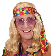 Set Hippie-Perücke mit Stirnband / Kopfband und Lennon / Nickelbrille