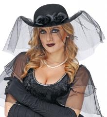 Schwarze Witwe Schleierhut schwarzer Damenhut Gothic-Szene