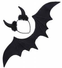 Fledermaus Fledermausflügel mit Haarreif Teufel Teufelsflügel