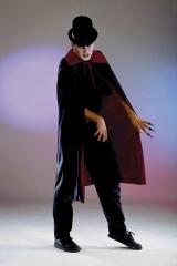 Dracula Vampir Hexer Teufel Wende-Umhang rot/schwarz Karneval Party