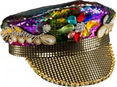Partymütze mit passender Brille Travestie Gay Bling Bling Glitter