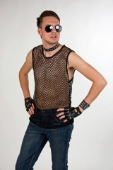 Netzshirt Porno Rocker Punk Zubehör Faschingsparty Mottoparty Karneval