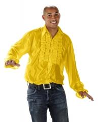 Rüschenhemd Partyhemd gelb 70er 80er Jahre Hemd Retrohemd Mottoparty