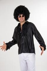 Rüschenhemd Partyhemd Herrenhemd Hippiehemd Kostümhemd schwarz oder we